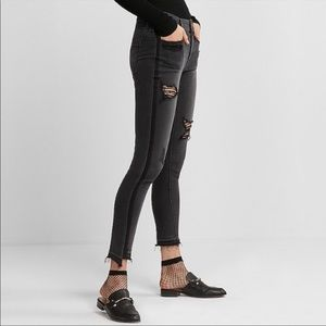 Express distressed skinny jeans